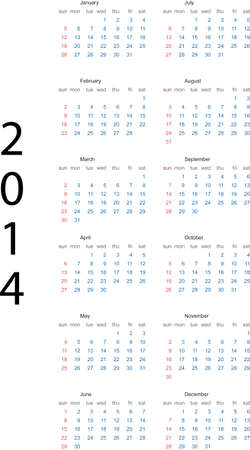 arial: 2014 full editable calendar template - week starts sunday   Font used - Arial was not expanded  Illustration