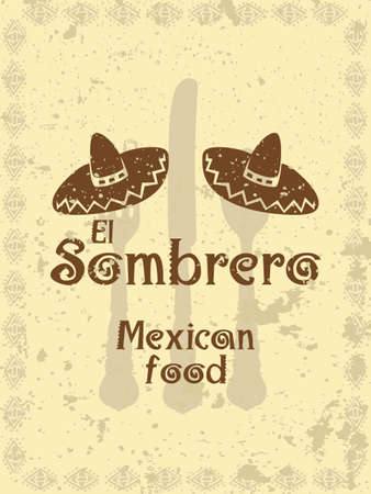 mexican cartoon: Vintage style menu cover with sombreros and cutlery