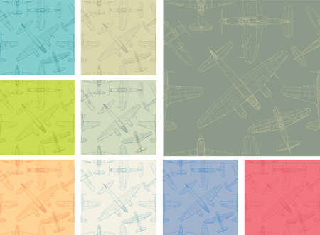 Vintage style vector seamless pattern pack with old airplanes