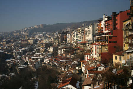 Winter cityscape of Veliko Tarnovo, Bulgaria photo