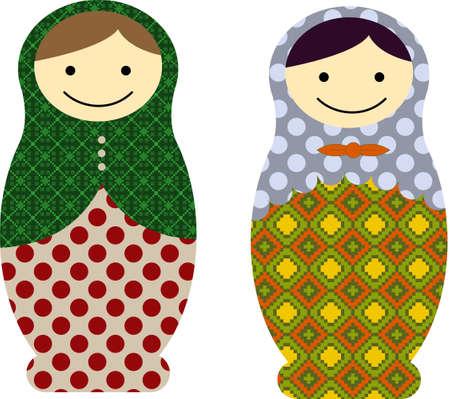 babushka: Vector illustration of matryoshka russian dolls Illustration