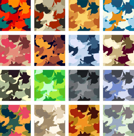 Abstract camouflage vector seamless pattern pack Vector