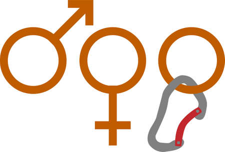 genders: Vector illustration of gender sign suggesting three genders   male, female and climbing Illustration