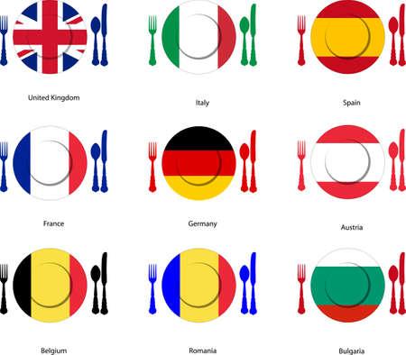 evropský: Evropská kuchyně vlajky na nádobí s příbory Ilustrace