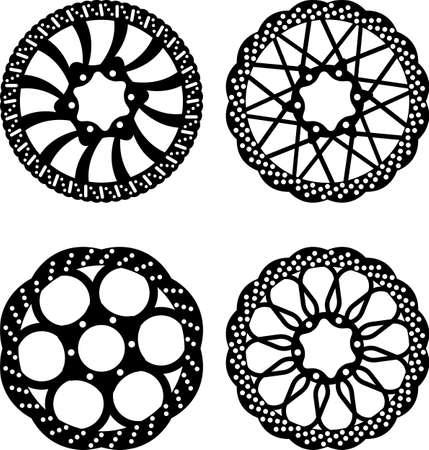 brake disc: Vector bike brake disc silhouettes Illustration