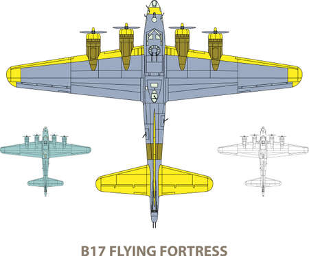 Vector illustration of old military airplane Vector