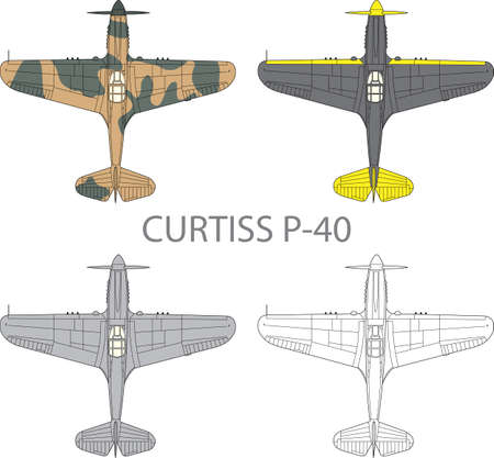 air force: Vector illustration of old military airplane