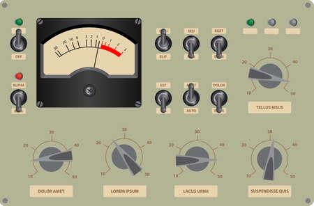 tablero de control: Ilustración vectorial editable de panel de control analógico Vectores