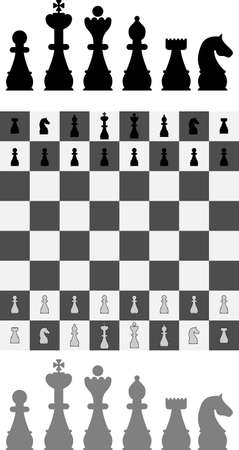 bishop: Vector silhouettes of standard chess pieces with board