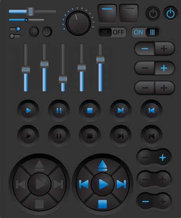 player controls: Paquete de vectores con botones digitales y bares de jugador y otros controles Vectores