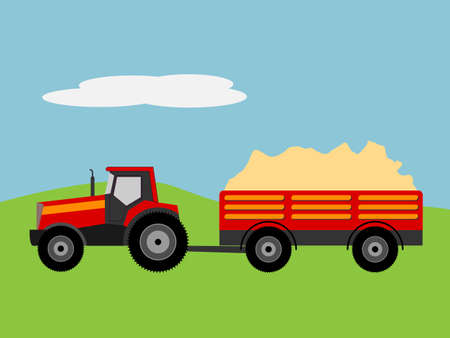 Vector illustration of a tractor with tug