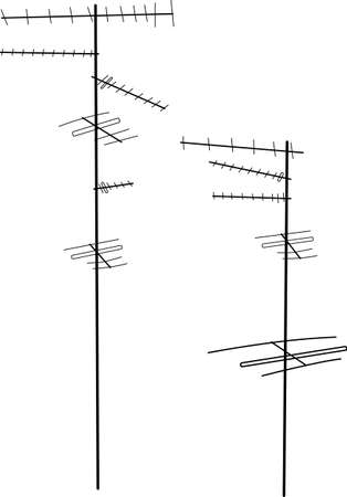 electrical wires: Vector tv antenna silhouettes Illustration