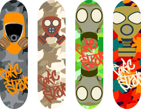 skateboard park: Paquete del dise�o del monopat�n con m�scaras de gas