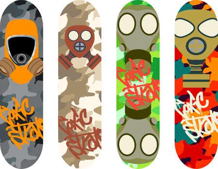 skateboard park: skateboard design pack with gas masks Illustration