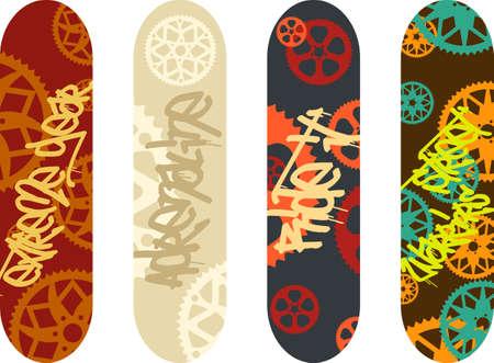 skate park: skateboard design pack with graffiti tags and bike gears Illustration