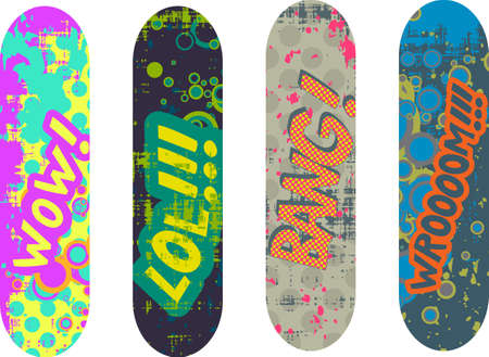 skateboard design pack with cartoon style effects Vector