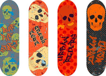 skateboard design pack with graffiti tags and skulls Vector