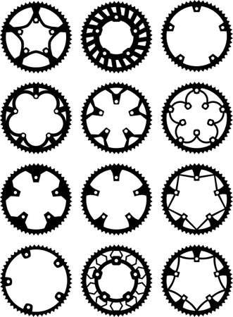 Pack de vectores de engranajes de bicicleta y corona trasera Foto de archivo - 32374165