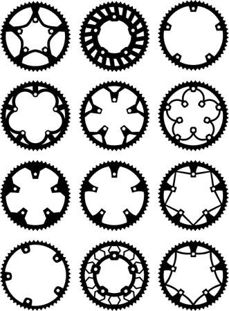 Vector pack of bike chainrings and rear sprocket Vector