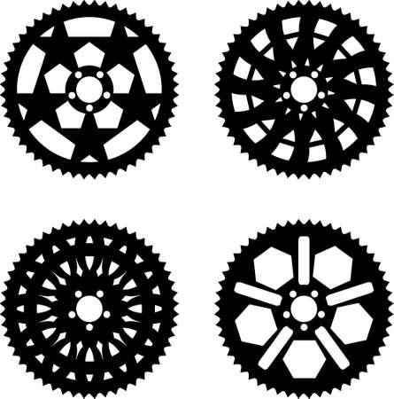 sprocket: Vector confezione di corone ciclabili e pignone Vettoriali