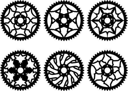 sprocket: Vector pack of bike chainrings and rear sprocket Illustration