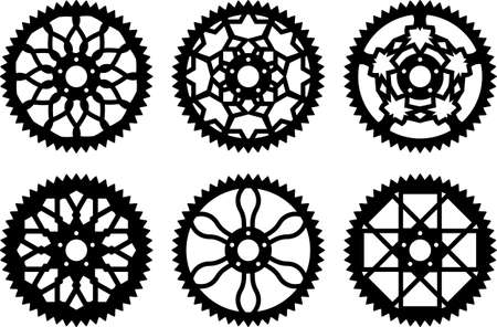 mtb: Vector pack of bike chainrings and rear sprocket Illustration