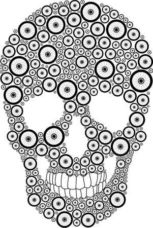 Vector skull created from bike wheels Vector
