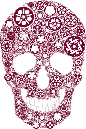 Vector skull created from bike chainrings Vector