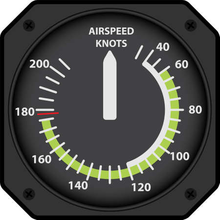 Vector illustration of analogical aircraft airspeed indicator Stock Illustratie