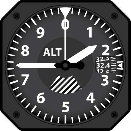 Vector illustration of analogical aircraft altimeter Vettoriali