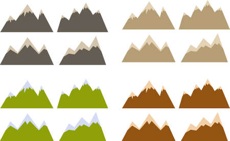 hill top: Vector pack of various mountains silhouettes and shapes