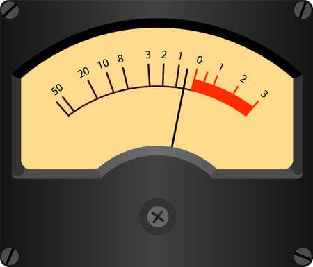 gauge: Vintage style vector illustration of analogic VU meter