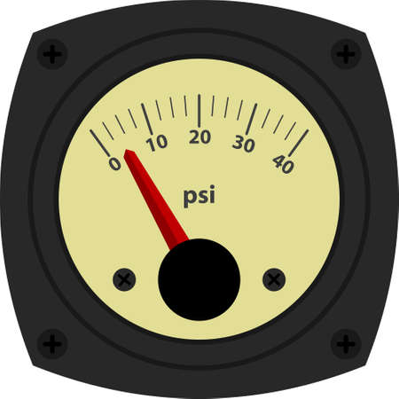 indicator panel: Vintage style vector illustration of analogical pressure measurement device