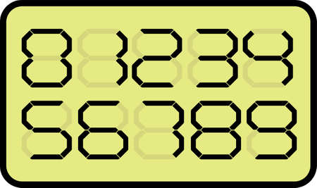 numbers abstract: Vector LCD display with abstract shape numbers