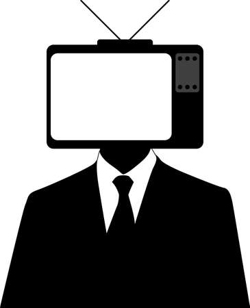 head set: Vector illustration of a man with a tvset on head