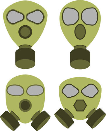 gas mask warning sign: Vector illustration of abstract gas masks Illustration