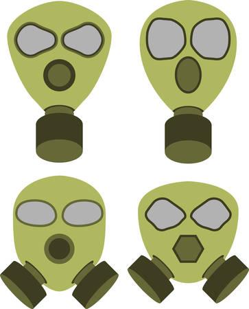 gas mask warning sign: Vector illustration of abstract gas masks Illustration
