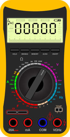 electronic components: Vector illustration of a digital multimeter Illustration