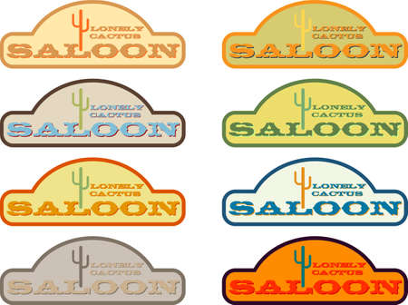Vector illustration of vintage saloon badge Vector