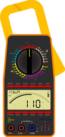 ammeter: Vector illustration of a digital multimeter Illustration