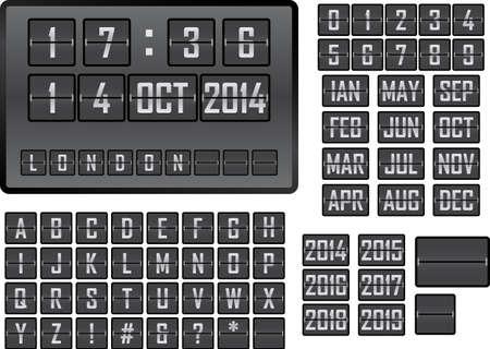 table calendar: Vector illustration of a mechanical scoreboard display