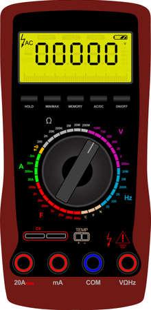 ammeter: Vector illustration of a digital multimeter Illustration