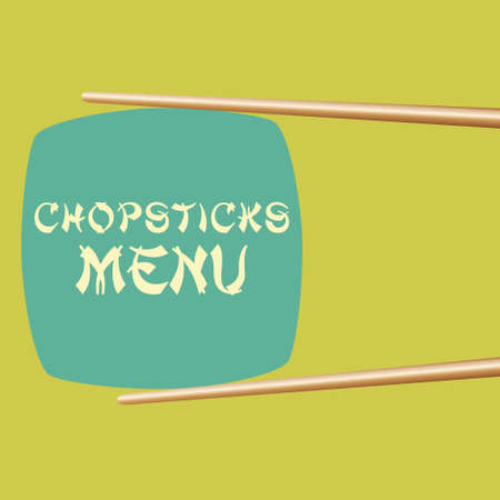 Vector illustration of a menu cover with two chopsticks Vector