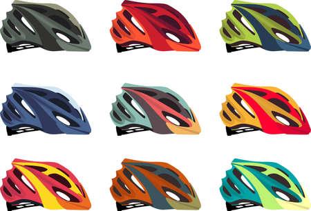 Colorful bike helmet vector pack