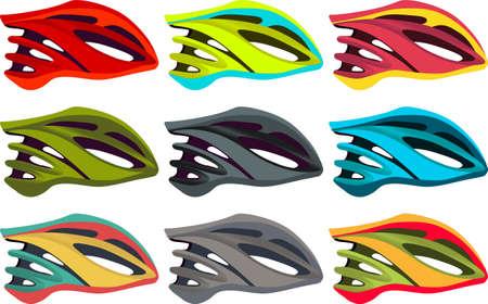 cycling helmet: Colorful bike helmet vector pack