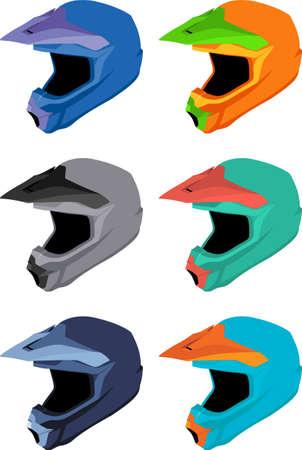 mtb: Full-face bike helmets vector pack
