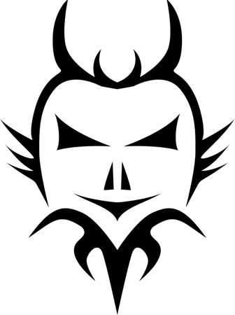 evil face: Abstract illustration of a tattoo style evil face