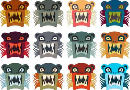 illustration set of Inca style monster Vector