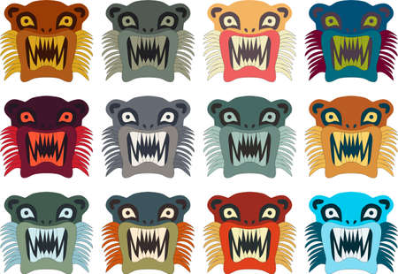 illustration set of Inca style monster Illustration