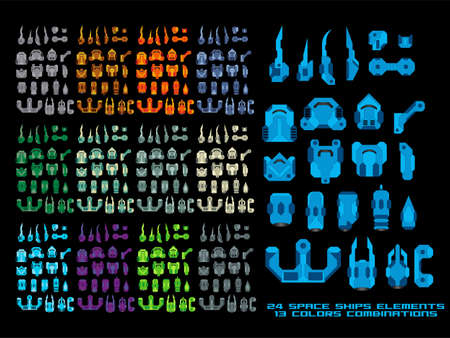 creation kit: Vector Game Spaceship Creation Kit Illustration